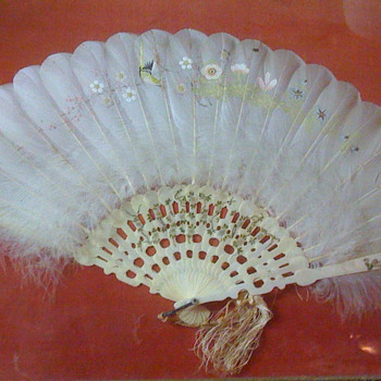 Ivory and feather hand-painted fan - Accessories