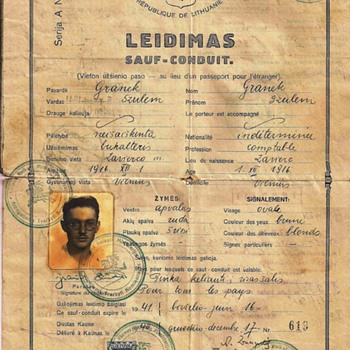 1940 Lithuanian Sauf-conduit (passport) - Paper