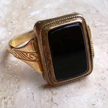 """Protected By Law/Registered"" German Gold Double'/Onyx Man's Ring"