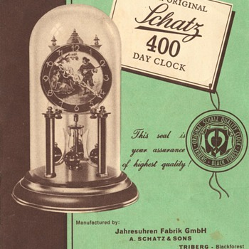 Schatz Standard 400 Day Clock Instructions, 1950s