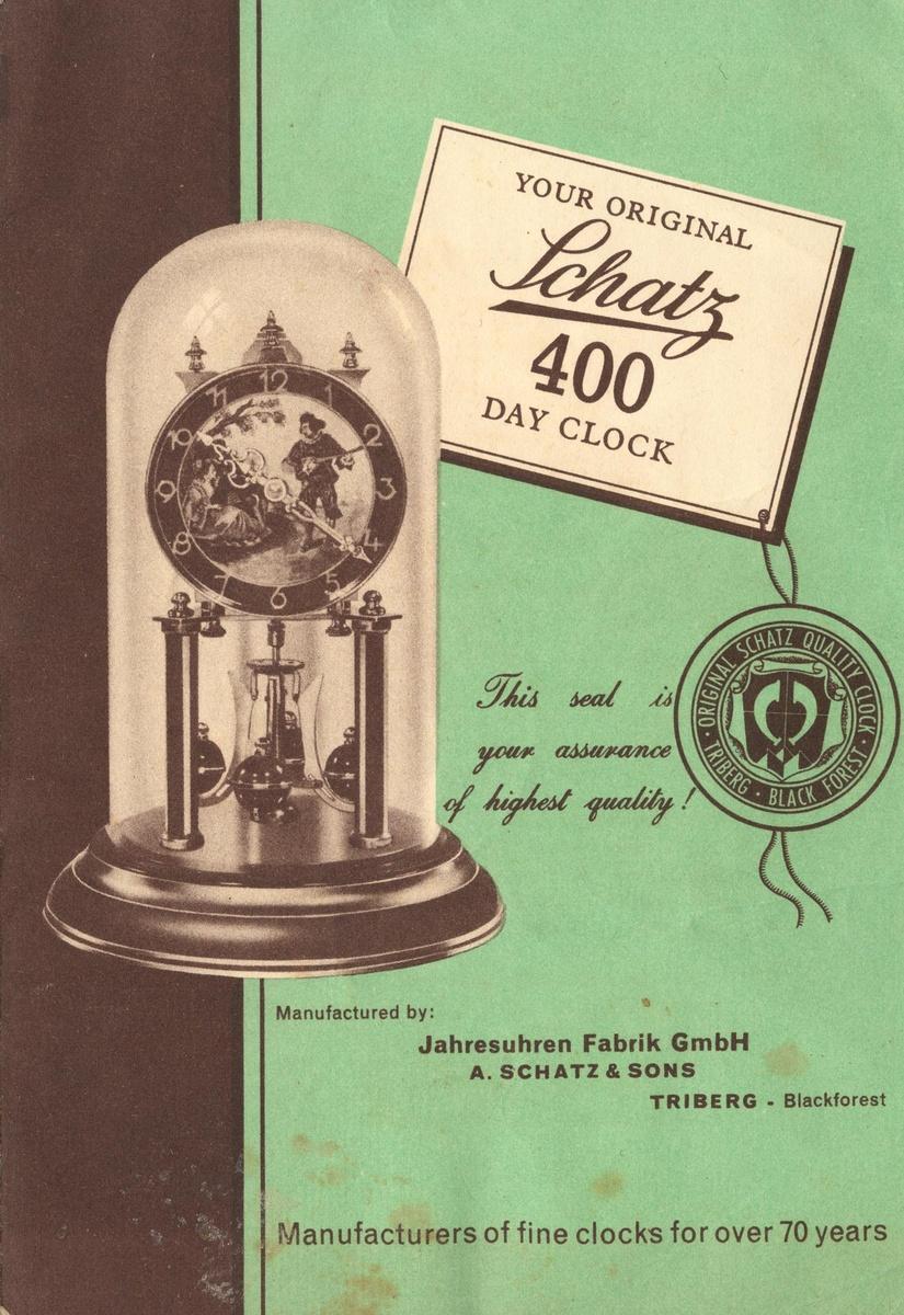 Schatz Standard 400 Day Clock Instructions 1950s