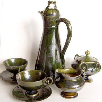 Lovely Antique Japanese Green Glaze Chocolate Set