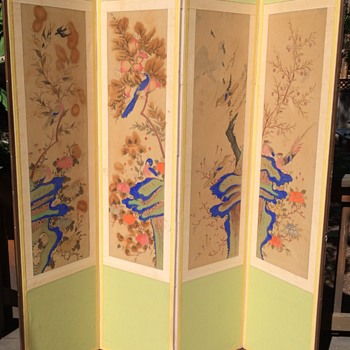 Beautiful old Chinese watercolor painting set screen different birds