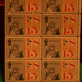 1961 US Airmail Liberty For All 15¢ Stamps