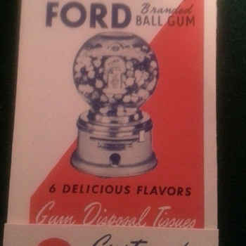 Ford Gumball disposal tissues NOS - Coin Operated