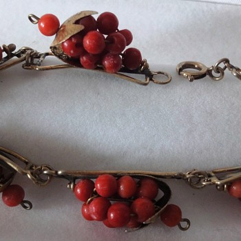 Coral Grape Bunches (6) set in Vermeil Bracelet - Victorian Era