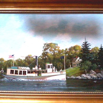 "Ernest Haas ""The Little Nellie On Lake Champlain c. 1895"" /Acrylic on Artist Board 18""x 24""/Circa 1995 - Visual Art"