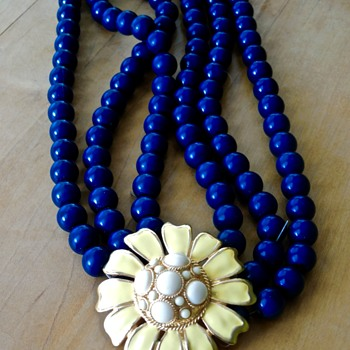 Heavy Teal Bead/Enamel Flower Necklace