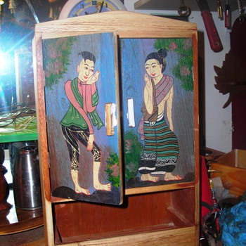 Small wooden cabinet with Asian figures on doors - Furniture