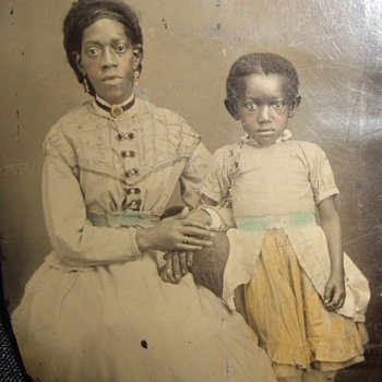 Early African American Mom and child tintype - Photographs