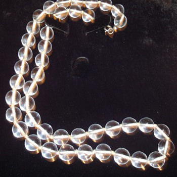 Pools of Light Rock Crystal Quartz Bead Necklace~Silver Clasp