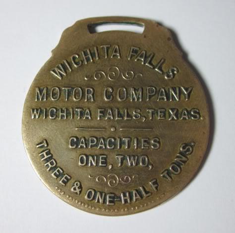 Wichita Falls Motor Co Witcita Trucks Enamel Watch Fob