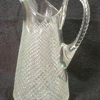 Strawberry and Diamond Fan Cut Glass Pitcher CA 1870's  - Glassware