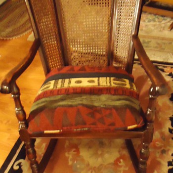 1925 Cowan Mahog. Wick. Rocking chair, 1925 ad Nat. Geo. Winter in Phoenix! Only 60 hours from Chicago, 80 hrs. from N. Y.! - Furniture