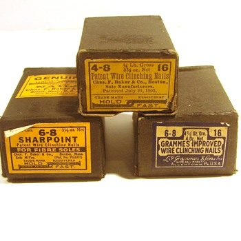 Three vintage boxes of nails