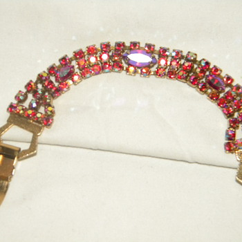 Vintage Aurora Borealis Cranberry and Emerald Rhinestone Bracelets - Costume Jewelry
