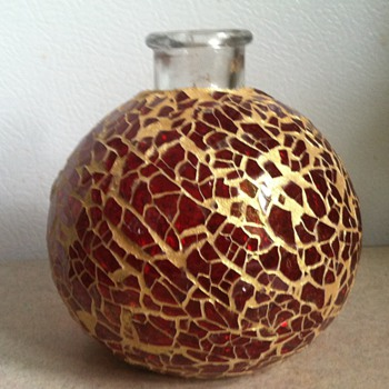 Red Glass Mosaic Bottle/Vase