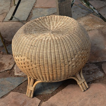 Large Wicker Ottoman or Poof