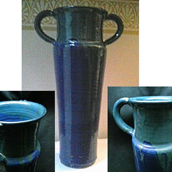 Tall Arts and Craft Style Blue-Green Drip Glaze Vase/Circa 20th Century