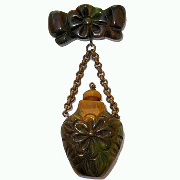 Antique End of Day Bakelite Perfume Scent Bottle Brooch Pin - Costume Jewelry