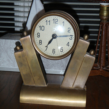 Brass Art Deco Clock - Art Deco
