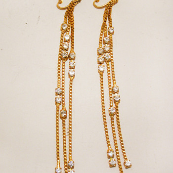 Vintage Les Bernard Cascading Chain Rhinestone Earrings - Costume Jewelry