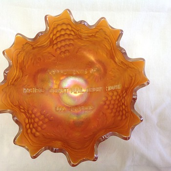Fenton Pacific Coast Mail Order Bowl - Marigold - Art Glass