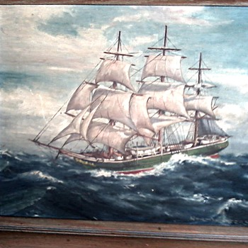 "Beautiful Old Clipper Ship Oil Painting 16"" x 20"" / Signed / Circa 1930's - Visual Art"