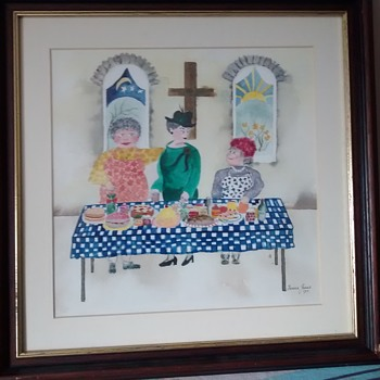 Today's find an Original Therese James Water colour signed and lable wood framed under glass
