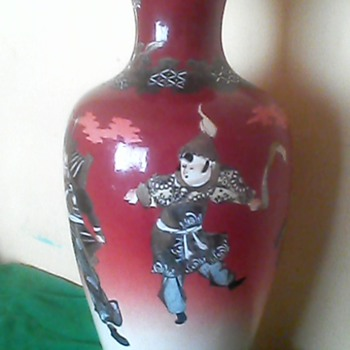 Rare and old Antique Vase of Japanese Soldiers in movement
