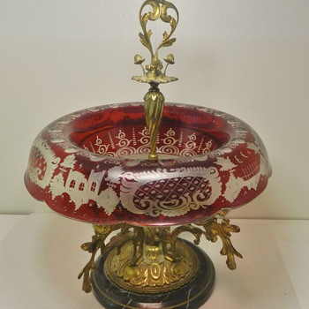 Fabulous Bohemian Centerpiece Cut Clear Gilt Bronze Marble Base