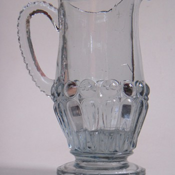 EAPG?~Beautiful, Cock-eyed Pitcher~Clear with a Hint of Purple - Glassware