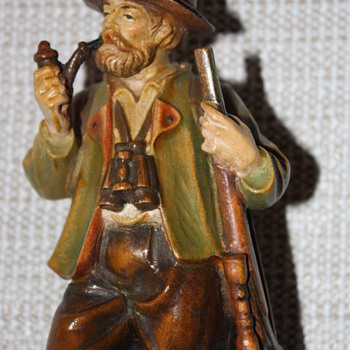 Man and Dog hand painted wood figurine