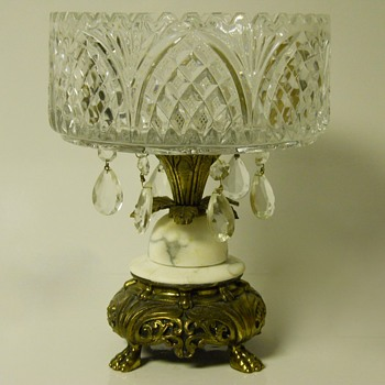 "Victorian Cut Glass Centre Piece Compote""EAPG""With Ornate Brass Base - Glassware"