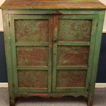 Late 1800's Primitive Painted Pie Safe - Furniture