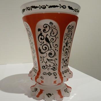 Bohemian Beaker Two Colour Silver Decoration - Art Glass