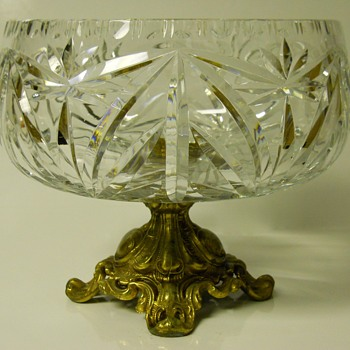 "Victorian Cut Glass Centre Piece Compote""EAPG""With Ornate Brass Base"