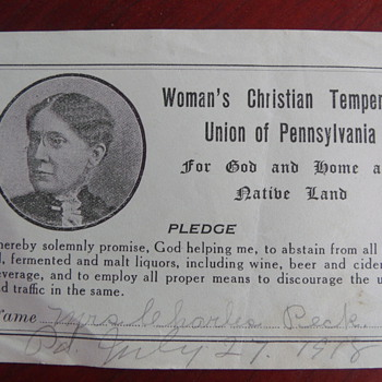 1918 Women's Christian Temperance Pledge - Paper