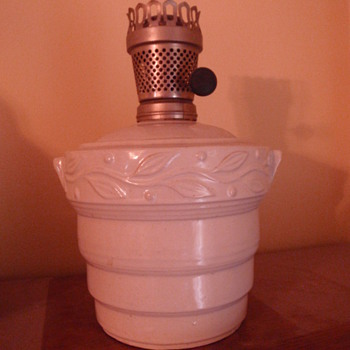 Stoneware kerosene lamp, Unknown maker