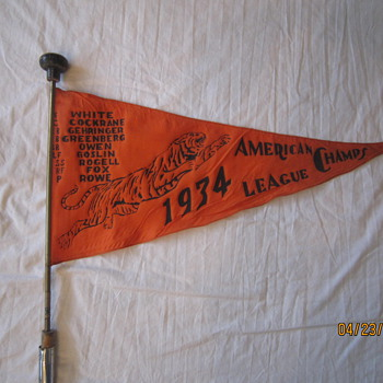 1934 Detroit Tigers Baseball American League Champs All In One Pennant Cane - Baseball