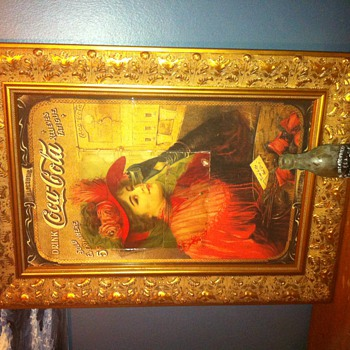  Coca-Cola 1909, &quot;Good To The Last Drop&quot; rare 14x22 sign, remnant overlaying reprint 