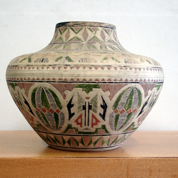 Unusual Austrian handpainted pottery - Art Pottery