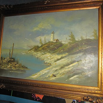 Mystery Artist Signed Oil Painting of Seascape Dunes and Lighthouse Cape Cod?