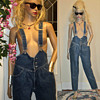 Vintage 80s HIGH WAIST Denim SUSPENDER Overall JEANS
