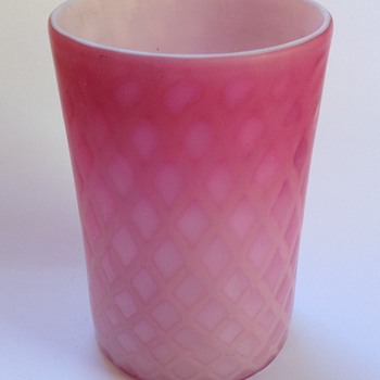 Victorian diamond quilted satin glass tumbler - Art Glass