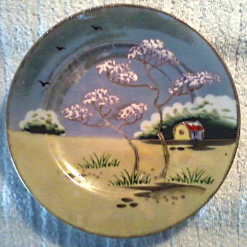 Two Beautiful Japanese Hand Painted Luster Ware Plates / Circa 1930's-40's