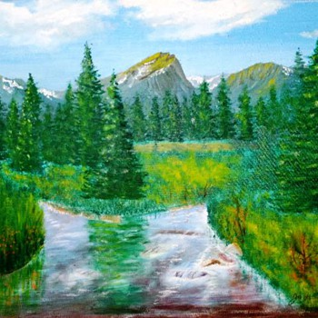 Original Mountain Landscape Painting