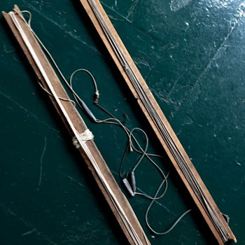 "Antique 24"" hand carved fishing gear/rods with tackle"