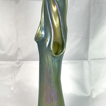 "Loetz Moss Green Ciselé Tree Trunk Vase. 12.5"" Tall. Circa 1902"