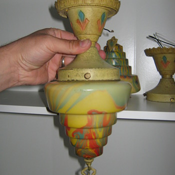 Gill Glass and Fixture Company of Philadelphia, USA art deco light globes with fixtures - Art Deco